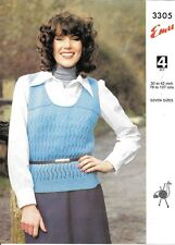 "Vintage Emu Knitting Pattern Ladies 4 Ply Slipover 30""-42"" Bust"
