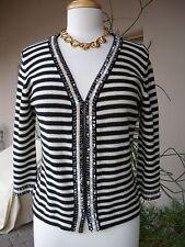 SO CUTE~~!!!  $595 MAXMARA Black White Stripe Sequin Wool Cardigan Sweater Top M