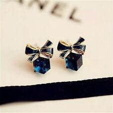 Lovely Elegant Crystal Bow Cube Earrings Gold Filled Women Stud Earrings