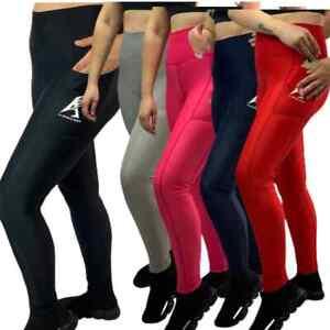 Ladies Running Leggings Pocket Yoga Gym Sports Pants Tummy Control High Waist