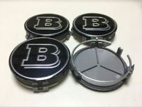 4x 75mm Black BRABUS Emblem LOGO Badge Auto Car Wheel Center Cover Hub Cap AMG
