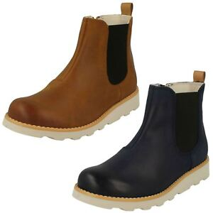Boys Clarks Casual Gusset Detail Zip Leather Ankle Boots Crown Halo