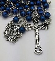Miraculous Center Traditional Crucifix Sapphire Blue Pearl Catholic Rosary Beads