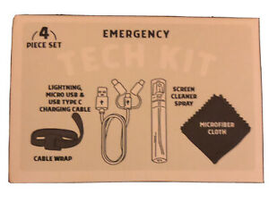 Emergency Tech Kit - Charging Cable, Cable Wrap, Screen Cleaner & Cloth