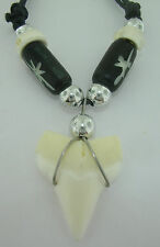 Shark tooth pendant black metallic and white surf beads cord necklace 18mmx12mm