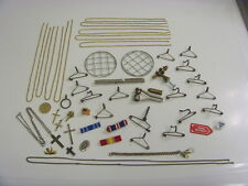 vintage junk drawer jewelry repair lot fob chain army ribbons crosses etc 49037