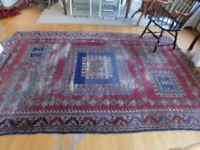Fantastic Antique Worn Persian Rug Blues Wool Hand Knotted 6.5 x 10' Wool