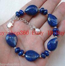 Natural Lapis Lazuli Beads Gemstone Bracelet Bangle 7.5''