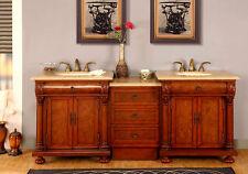 "82.5"" Bathroom Furniture Double Bath Vanity LED Light Dual Sink Cabinet 723TL"