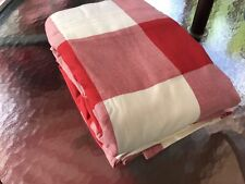 Pottery Barn Red Ivory Cream Buffalo Check Plaid Cotton Full Queen Duvet Cover
