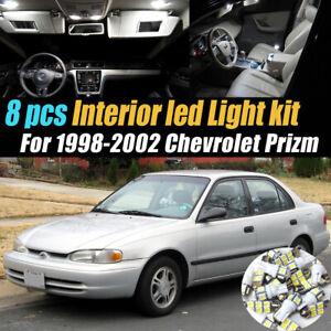 8Pc Super White Car Interior LED Light Bulb Kit for 1998-2002 Chevrolet Prizm