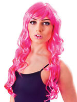 Vixen Wavy Long Neon Pink Fancy Dress Accessory 80s Sexy  Wig Adult Hen Party