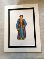 Vintage Moda Stampa Mongolo Etnico Folk Costume Tessuto Storia Design Art
