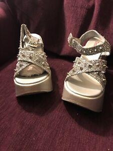 Demonia Sz 9 DYNAMITE Women's Silver Glitter Ankle Strap Platform Wedge Sandals
