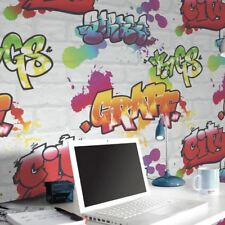 NEW RASCH GRAFFITI PAINTED WHITE BRICK PATTERN URBAN CHILDRENS WALLPAPER 272901