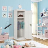 White Metal Kids Storage Locker w/Hanging Rods School Home Single Tier Cabinent