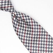 Josiah France Mens Silk Necktie Black White Red Houndstooth Check Weave Tie