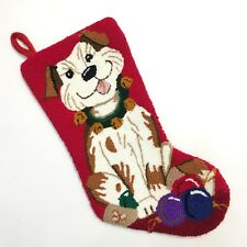 Punch Hook Christmas Stocking Puppy Dog Pet Tree Ball Ornaments Red Sleigh Bell