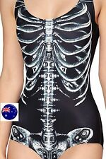 Women Skull Skeleton Halloween Swim Dance Skating Leotard Costume Bodysuit 8-10