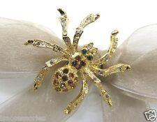 18K Gold Plated Spider Swarovski Element Austrian Crystal Rhinestone Brooch Pin