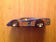 VINTAGE 1988 MATTEL HOT WHEELS BLUE RACE CAR w/FLAMES DIE-CAST TOY CAR MALAYSIA