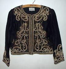 schwarze opulent Gold & Perlen bestickte Jacke Upper East 100% Seide M 70er
