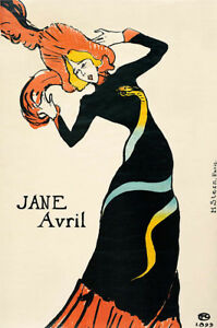 "HENRI DE TOULOUSE-LAUTREC ""Jane Avril"" print NEW choose SIZE, from 55cm up, NEW"