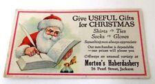Vintage Blotter Santa Writing his List Morton's Haberdashery Jackson MS