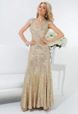 Tony Bowls Prom Dress 114539 Gold Size 10 NWT