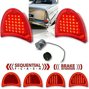 57 Chevy Bel Air 210 150 Red LED Sequential Tail Brake Light Lens Pair & Flasher