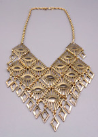 "Vintage ""MANDARIN MAGIC"" Gold Tone Bib Necklace Costume Sarah Coventry Jewelry"