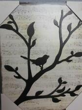 """Dimensional Wall Art Birds on Branch with Music Score Background 9.5 x 12"""""""