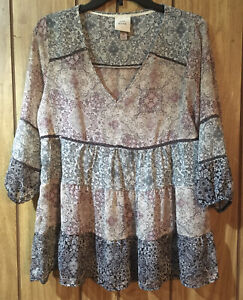 Knox Rose Women's Tunic Top Blouse Size M Pink Blue Floral V Neck 3/4 Sleeve
