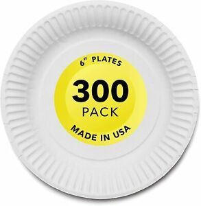 Stock Your Home 6-Inch Paper Plates Uncoated, White, 300 Count