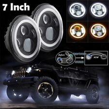 "7"" inch Round LED Black Headlight White Halo Angel Eye Fit Jeep JK TJ LJ CJ"