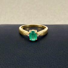 Emerald & Diamond 18ct Yellow Gold  3 stone oval Dress Ring 750 18k Fine Quality