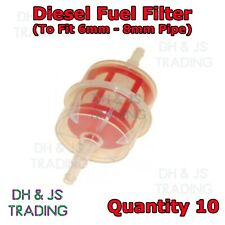 10x Inline Fuel Filter Small Universal Fit 6mm & 8mm Pipes - Diesel Fuel Filters