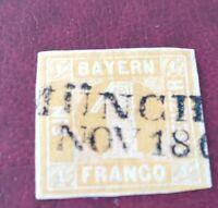 Bayern 1 Kreuzer gelb, Nr. 8, unten leicht berührt, Zweizeiler München