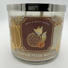 BATH & BODY WORKS PUMPKIN PECAN WAFFLES 3 WICK CANDLE NEW FREE SHIPPING fall