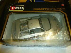 die cast 1/18 burago bugatti eb 110 1991 grigio   new  with box