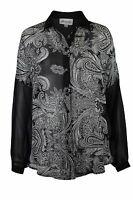 Ladies Womens Plus Size Black Chiffon Blouse Top 16-26 Going Out paisley