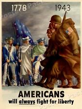 1943 Americans will always Fight for Liberty Vintage Style WW2 Poster - 18x24