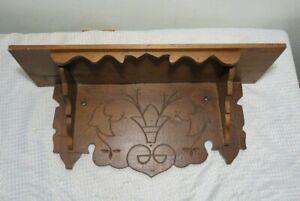 Antique Victorian Eastlake Wood Wall Mantle Shelf Spoon Carved Wooden Oak