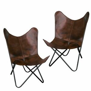 2PCS Handmade Vintage Buffalo Leather Butterfly Chair Home & Garden Furniture