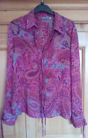 M&S Ladies Burgundy Floral Patterned Paisley Style Long Sleeve Shirt, size 16