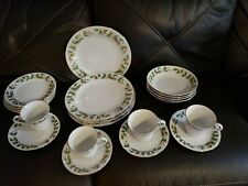 20 PC CHINA PEARL NOEL HOLLY  DINNERWARE SET SERVICE FOR 4 BROWN