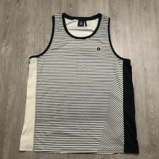New listing VOLCOM Mens XL Tank Top Surfing Stripe Black Off White 100% Polyester Excellent