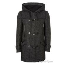 VERSACE COLLECTION Laine Cuir Duffle-Coat IT48 M-L NEUF à Capuche Veste