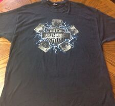 Harley Davidson T-Shirt No Tag Peshtigo, WI Royal Flush Cards Spades