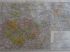 Victorian Mappa 1896 della Germania-Turingia stati il Times ATLAS 1st Gen